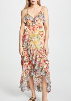 Camilla Silk Wrap Dress with Frill
