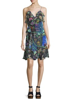 Camilla Sleeveless Wrap Mini Dress w/ Ruffle Frills