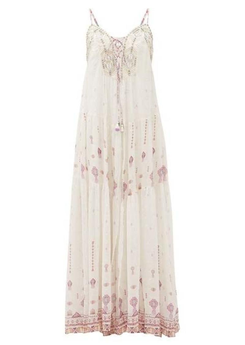 Camilla Tanami Road beaded lace-up silk-crepe dress