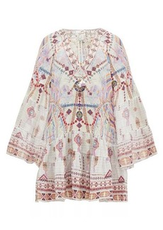 Camilla Tanami Road printed bell-sleeved silk dress