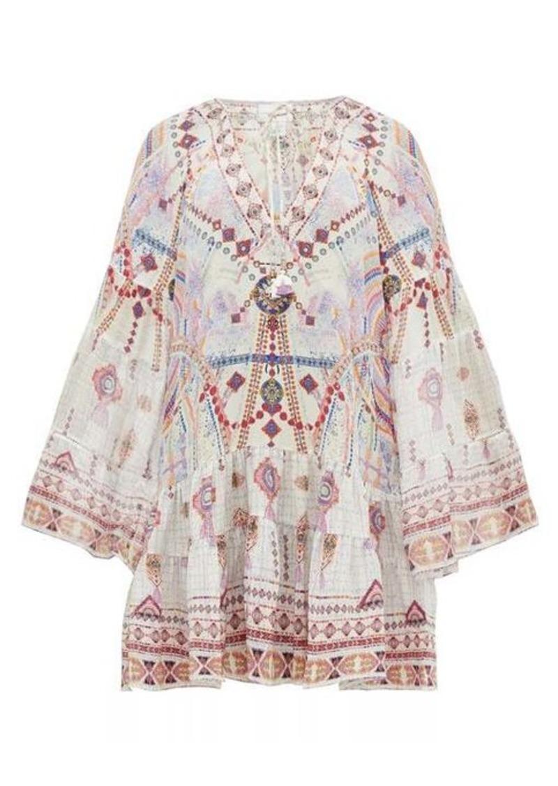 Camilla Tanami Road printed bell-sleeved silk dress