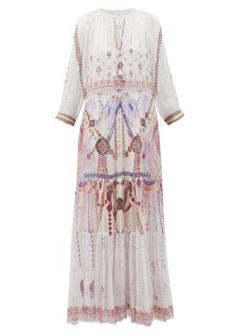 Camilla Tanami Road split-front tiered-hem silk maxi dress