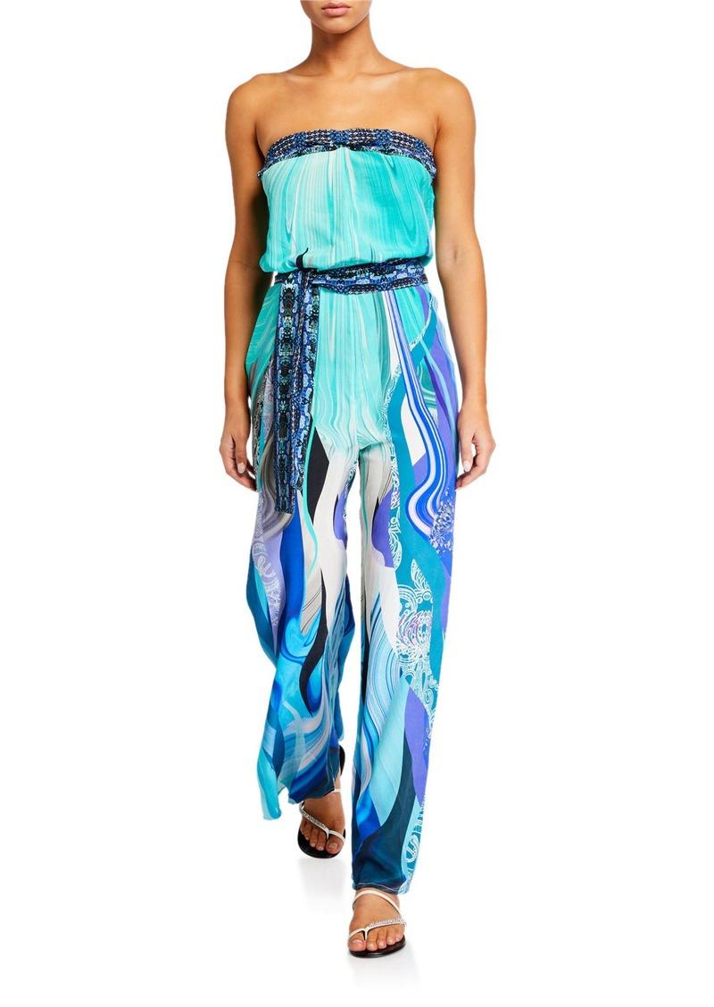 Camilla Tie-Waist Strapless Jumpsuit