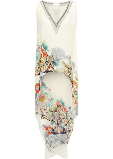 Camilla Woman Asymmetric Crystal-embellished Printed Silk Crepe De Chine Tunic Off-white