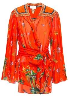 Camilla Woman Cinema Paradiso Embellished Printed Silk-chiffon Wrap Blouse Tomato Red