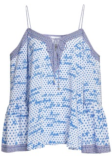 Camilla Woman Polka Face Cold-shoulder Printed Silk Crepe De Chine Top Blue