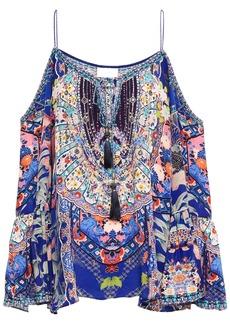 Camilla Woman Cold-shoulder Embellished Printed Silk Crepe De Chine Top Blue