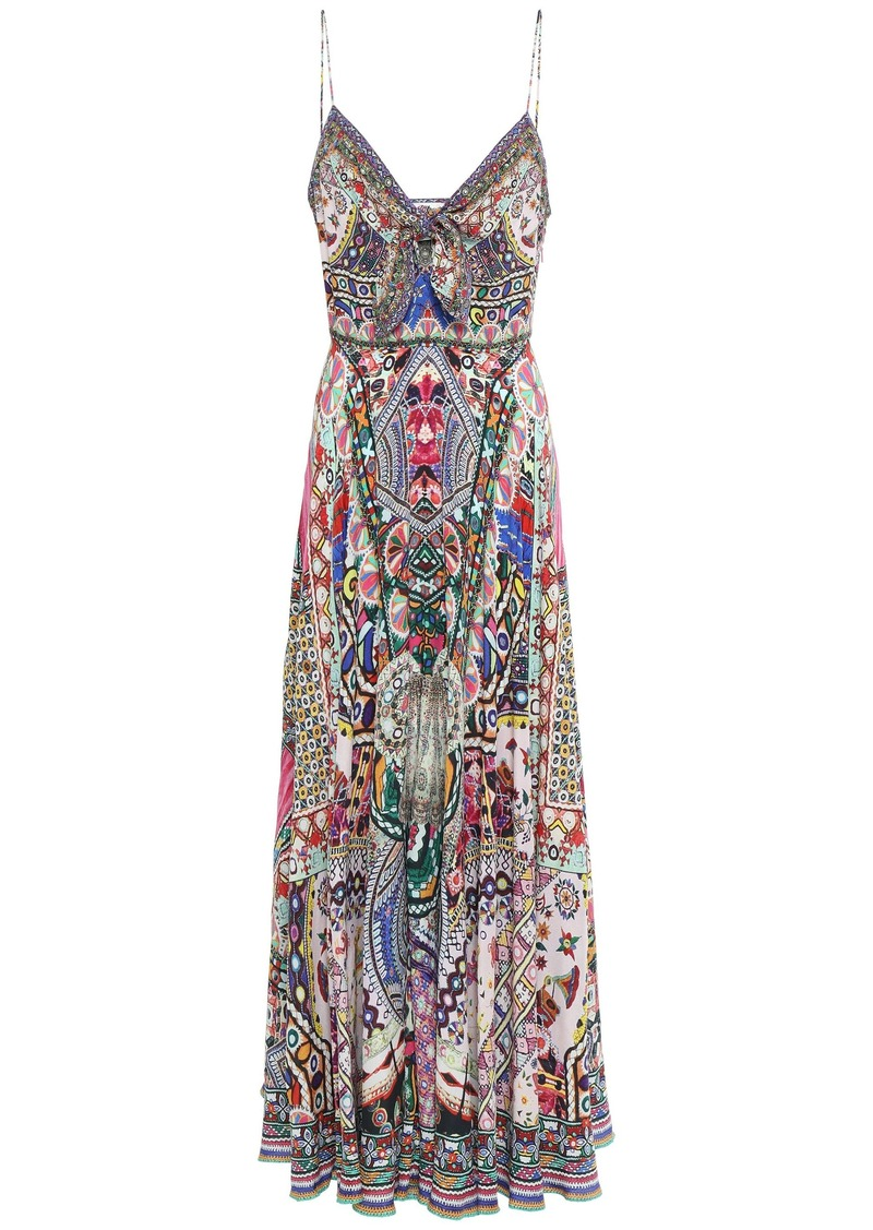 Camilla Woman Crystal-embellished Knotted Silk Crepe De Chine Maxi Dress Fuchsia