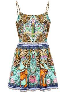 Camilla Woman Crystal-embellished Pleated Printed Stretch-cotton Mini Dress Animal Print