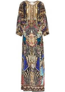 Camilla Woman Crystal-embellished Printed Silk Crepe De Chine Maxi Dress Black