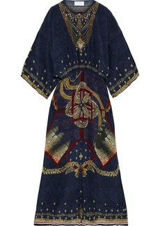 Camilla Woman Crystal-embellished Printed Silk Crepe De Chine Maxi Dress Storm Blue