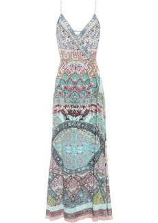 Camilla Woman Crystal-embellished Printed Silk Crepe De Chine Maxi Wrap Dress Turquoise