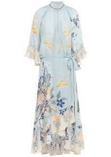 Camilla Woman Crystal-embellished Printed Silk Crepe De Chine Midi Wrap Dress Sky Blue