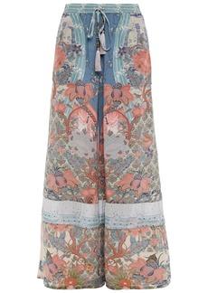 Camilla Woman Crystal-embellished Printed Silk Crepe De Chine Wide-leg Pants Antique Rose