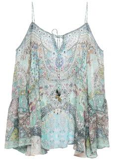 Camilla Woman Cold-shoulder Embellished Printed Silk Crepe De Chine Top Sky Blue
