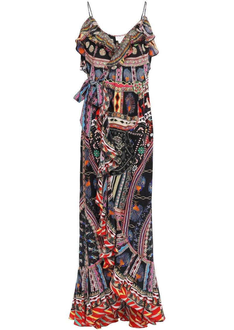 Camilla Woman Lady Lake Embellished Printed Silk Crepe De Chine Maxi Wrap Dress Black