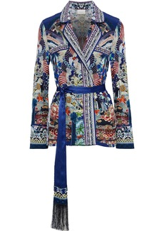 Camilla Woman Belted Crystal-embellished Printed Silk Crepe De Chine Jacket Royal Blue