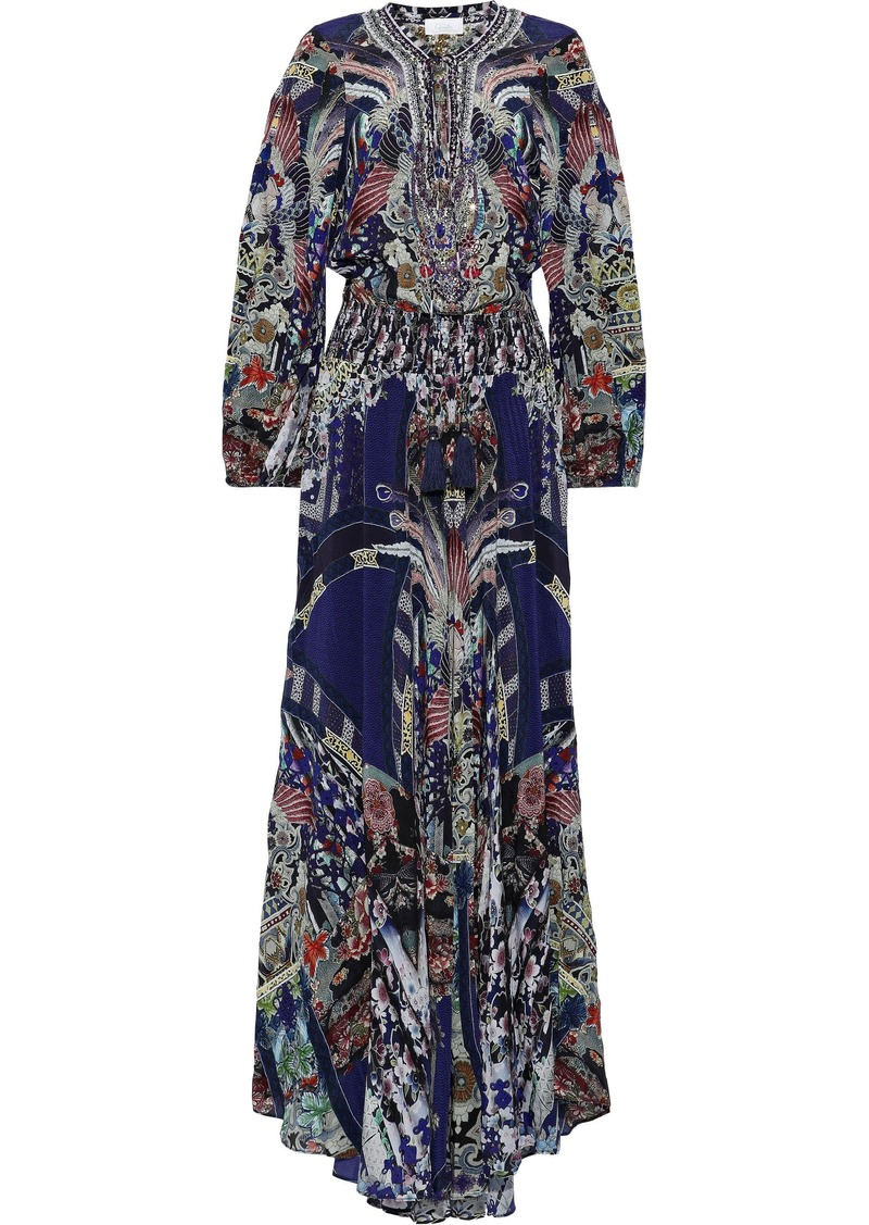 Camilla Woman Darling's Destiny Embellished Silk-chiffon Maxi Dress Navy