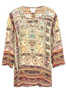 Camilla Woman Indiana Franks Crystal-embellished Printed Silk Crepe De Chine Blouse Cream