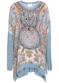 Camilla Woman Embellished Printed Crepe De Chine-paneled Cotton Silk And Cashmere-blend Tunic Light Blue
