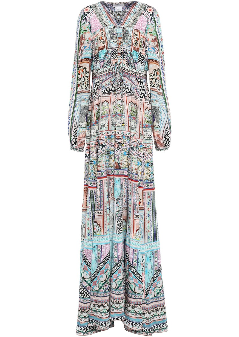 Camilla Woman Embellished Printed Silk Crepe De Chine Maxi Dress Pastel Pink