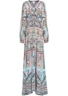 Camilla Woman Embellished Printed Silk Crepe De Chine Maxi Dress Pastel Pink