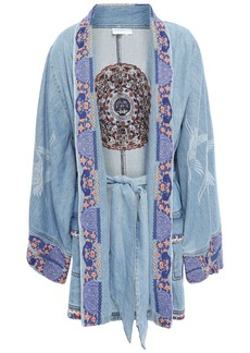 Camilla Woman Embroidered Printed Denim Kimono Light Denim