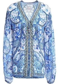 Camilla Woman Eternity Embellished Printed Silk Crepe De Chine Blouse Blue