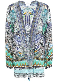 Camilla Woman The Creator Lace-up Embellished Printed Silk Crepe De Chine Blouse Azure