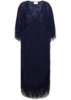 Camilla Woman Fringed Paneled Pointelle-knit Kaftan Navy