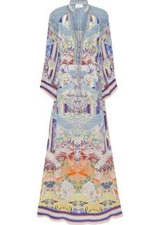 Camilla Woman Crystal-embellished Printed Silk Crepe De Chine Maxi Dress Light Blue
