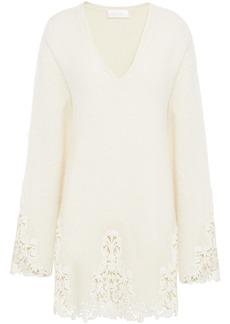 Camilla Woman Guipure Lace-trimmed Alpaca-blend Mini Dress Cream