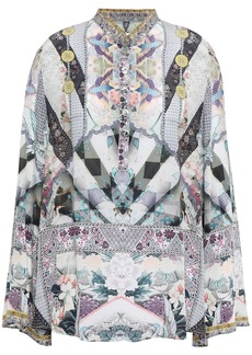 Camilla Woman In Her Shoes Embellished Silk Crepe De Chine Blouse White