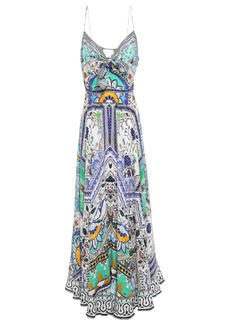 Camilla Woman Knotted Printed Silk Crepe De Chine Maxi Dress Sky Blue