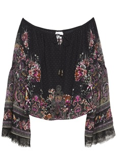 Camilla Woman Lace-trimmed Crystal-embellished Printed Silk Crepe De Chine Blouse Black