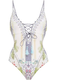Camilla Woman Crystal-embellished Lace-up Printed Swimsuit White