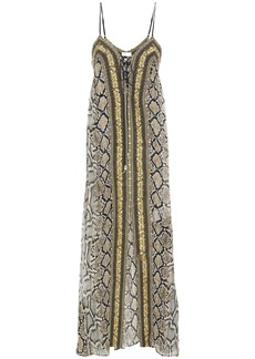 Camilla Woman Lace-up Crystal-embellished Snake-print Silk-chiffon Maxi Dress Animal Print