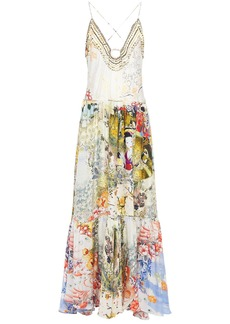 Camilla Woman Lady Labyrinth Embellished Printed Silk-jacquard Maxi Dress Cream