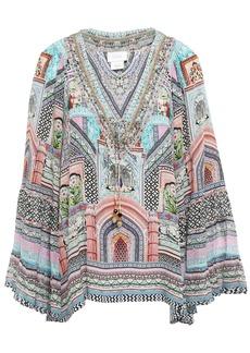 Camilla Woman Lady Lake Embellished Printed Silk Crepe De Chine Blouse Blush