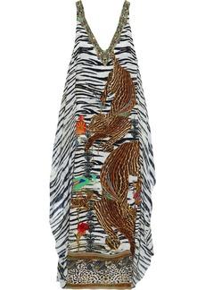 Camilla Woman Layered Crystal-embellished Printed Chiffon And Silk Crepe De Chine Maxi Dress Animal Print