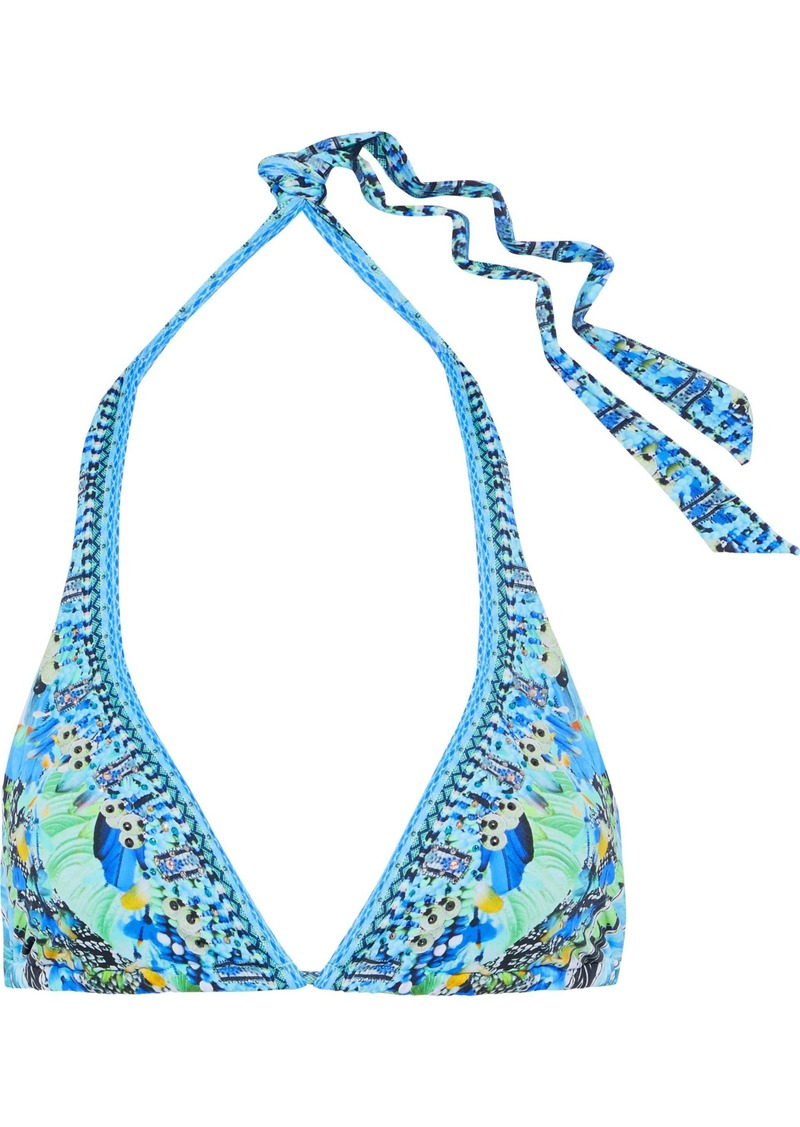 Camilla Woman Embellished Printed Triangle Bikini Top Light Blue