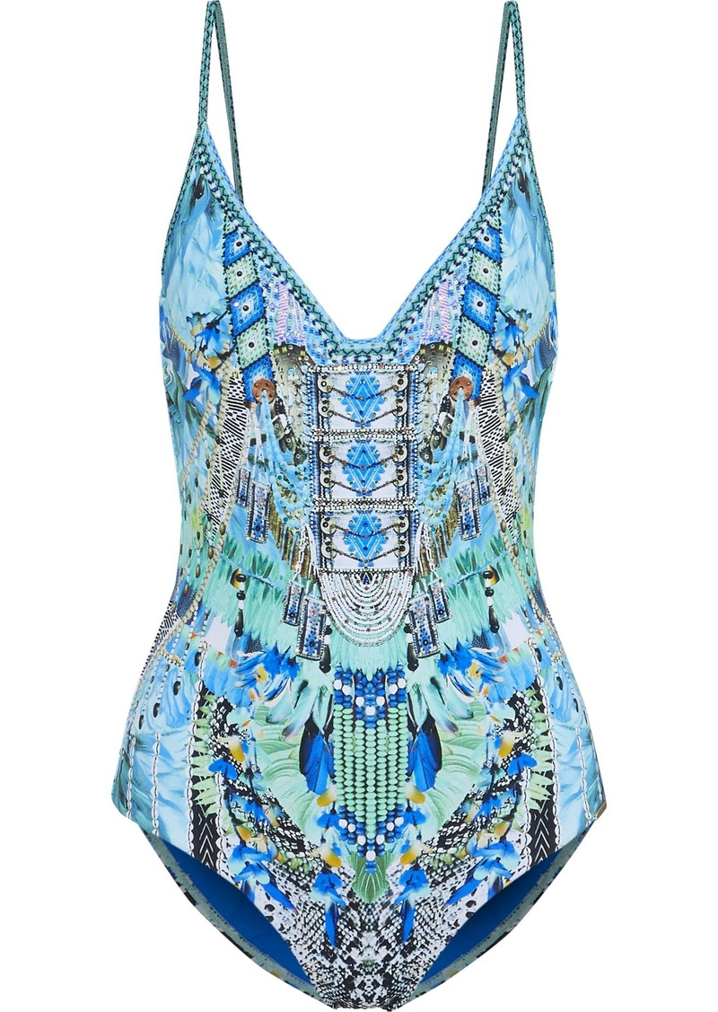 Camilla Woman Ms Mochilla Crystal-embellished Printed Swimsuit Blue