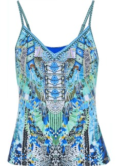 Camilla Woman Leave Me Wild Crystal-embellished Printed Tankini Top Turquoise