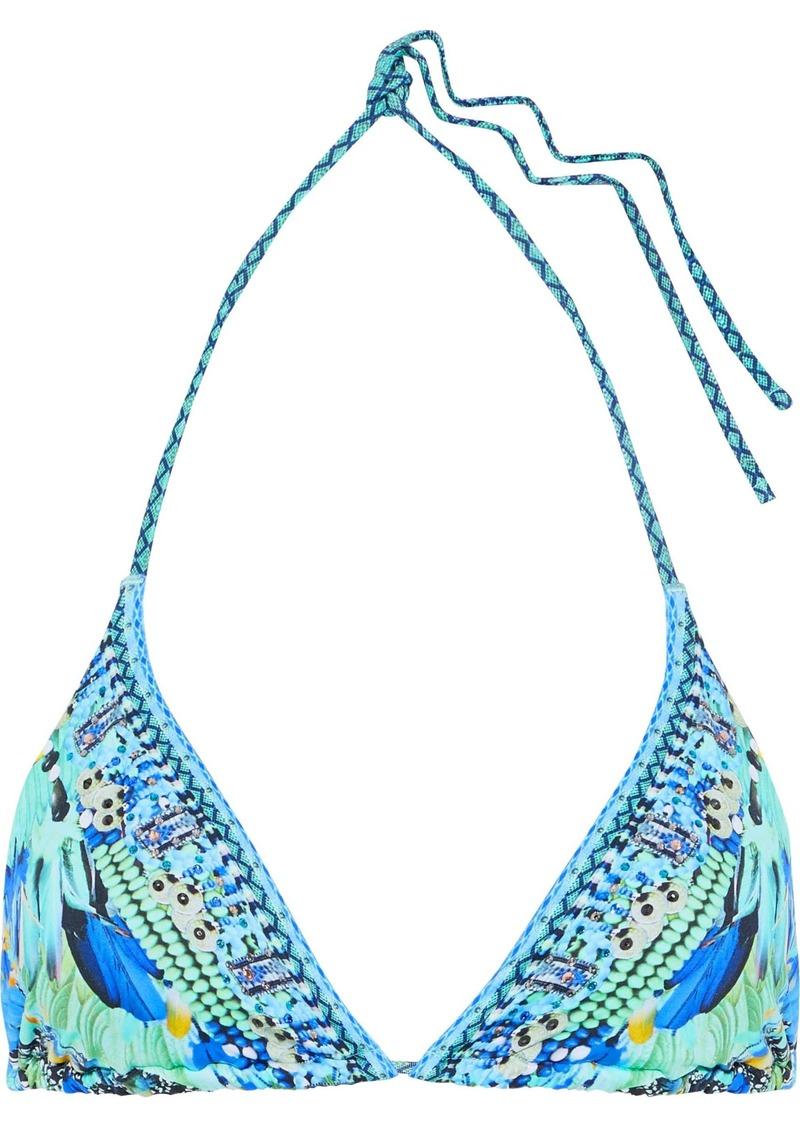 Camilla Woman Animal Instinct Crystal-embellished Printed Triangle Bikini Top Light Blue