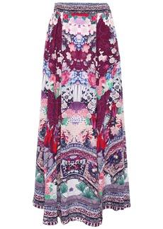 Camilla Woman Little Osaka Girl Crystal-embellished Silk Crepe De Chine Maxi Skirt Magenta