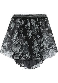 Camilla Woman Off-the-shoulder Crystal-embellished Floral-print Silk-georgette Blouse Black