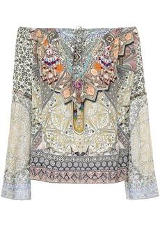 Camilla Woman Off-the-shoulder Georgette-paneled Printed Silk Crepe De Chine Top Multicolor
