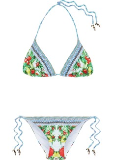 Camilla Woman One Flew Over Embellished Printed Triangle Bikini White