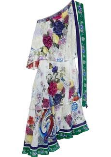 Camilla Woman One-shoulder Tiered Tie-neck Floral-print Silk-chiffon Midi Dress White