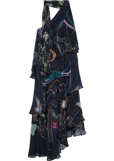 Camilla Woman One-shoulder Tiered Tie-neck Printed Silk-chiffon Midi Dress Midnight Blue